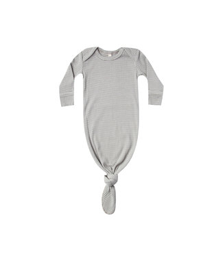QUINCY MAE Ribbed Knotted Baby Gown Eucalyptus