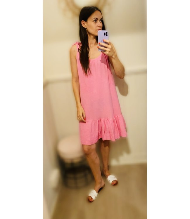 ELLY TETRA DRESS SHORT BRIGHT PINK ONE SIZE