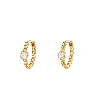 EARRINGS PEARLS IN A ROW ROUND GOLD CLEAR