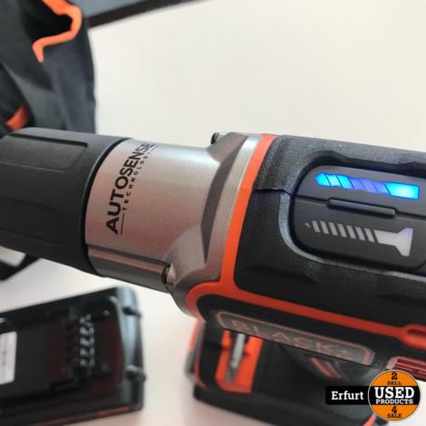Black und Decker Set Akku Bohrschrauber mit Tasche Autosense