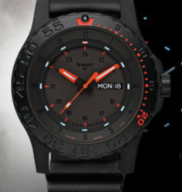 Traser Watches Traser P66 Red Combat leder - horloge - zwart/rood - Ø 45 mm