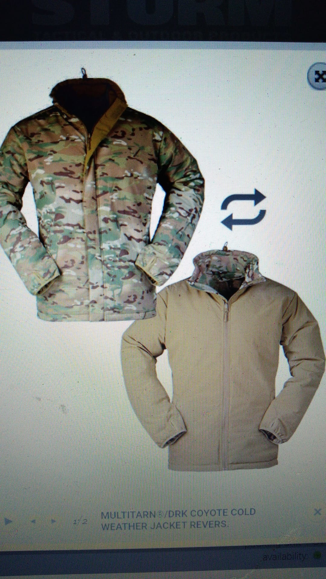 Multi Cam / Coyote    WEATHER JACKET REVERSIBLE