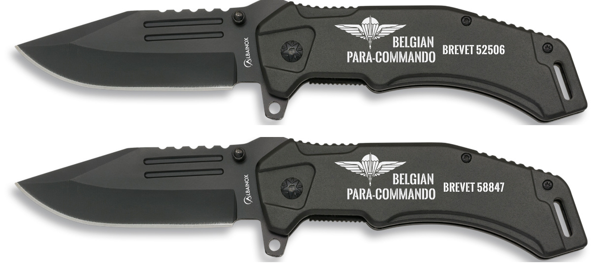 """Mes   """"   Belgian  Para Commando  """" gegraveerd"""