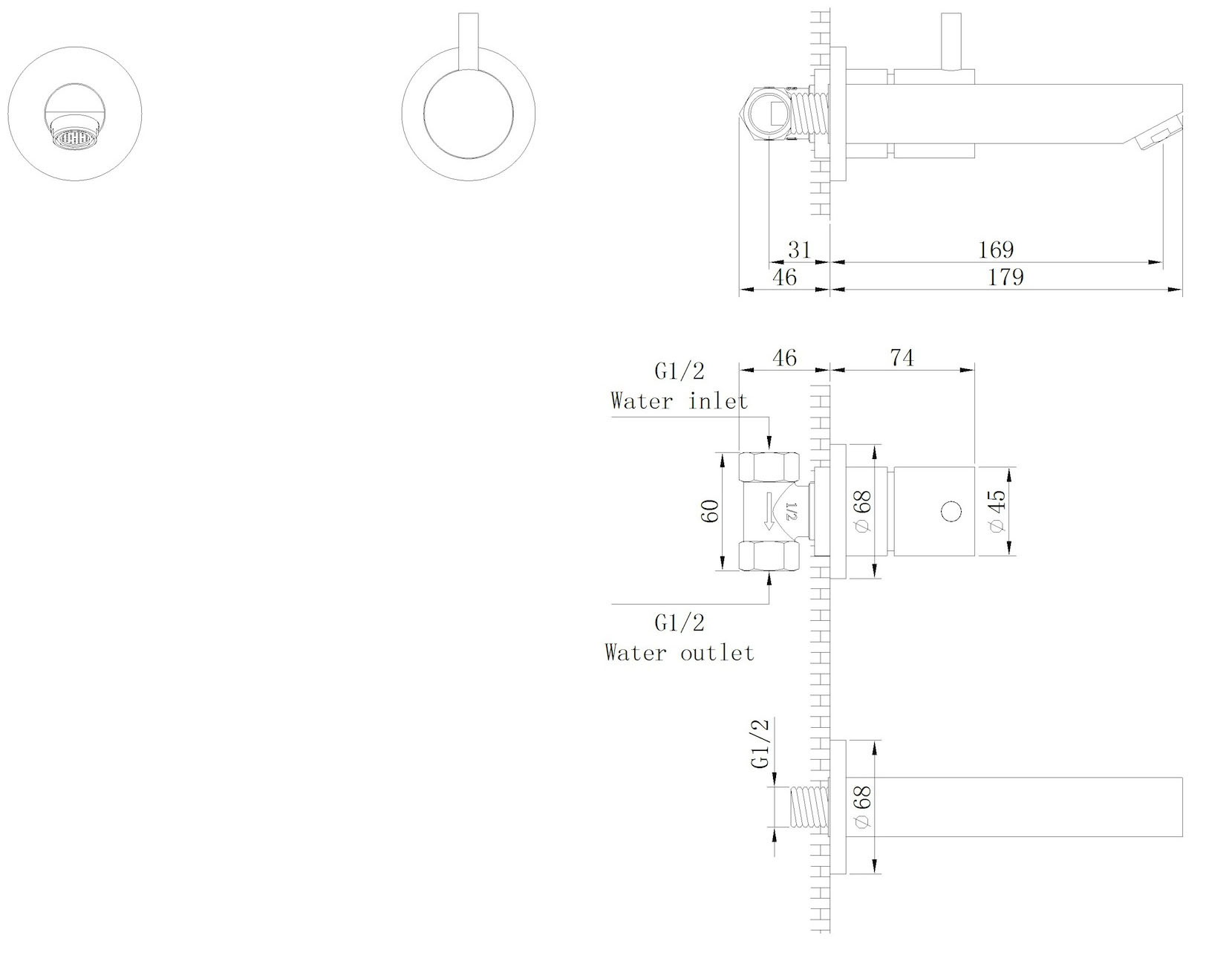Inbouw toiletkraan Type 3
