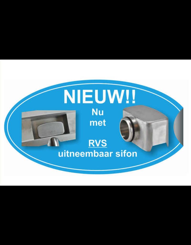 Linea Uno 3G RVS douchegoot compleet met flens en RVS Sifon 80x7cm