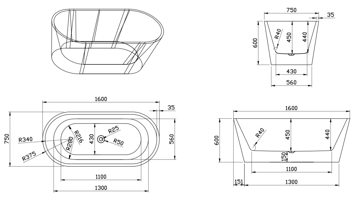 Linea Uno Design ligbad Teika 160
