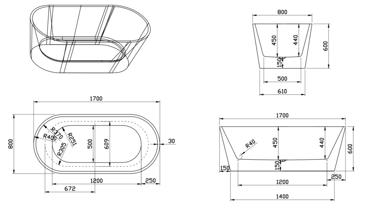 Linea Uno Design Badewanne Teika 170