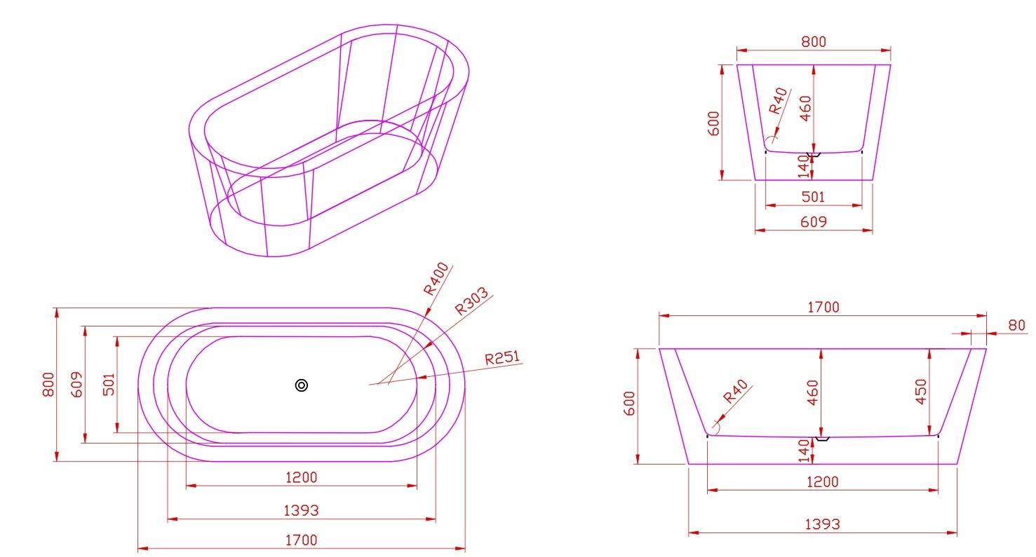 Linea Uno Design ligbad Riga 170