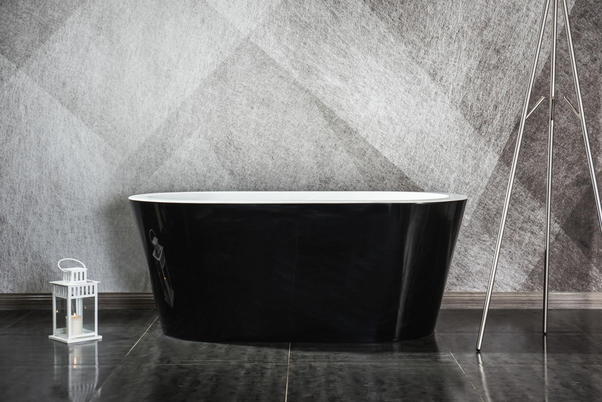 Linea Uno Design Badewanne Riga 160 (schwarz)