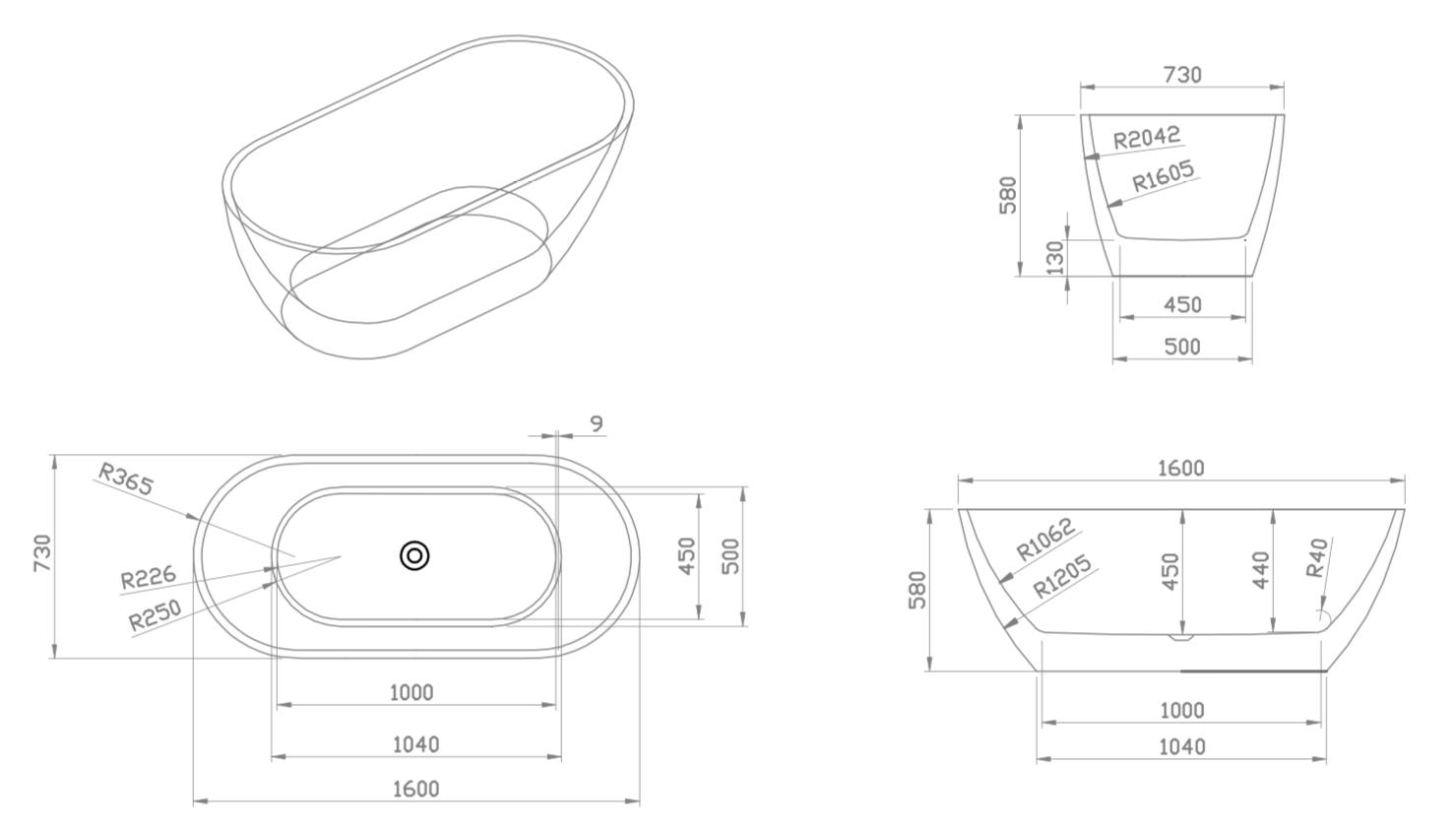 Linea Uno Design Badewanne Lubana 160