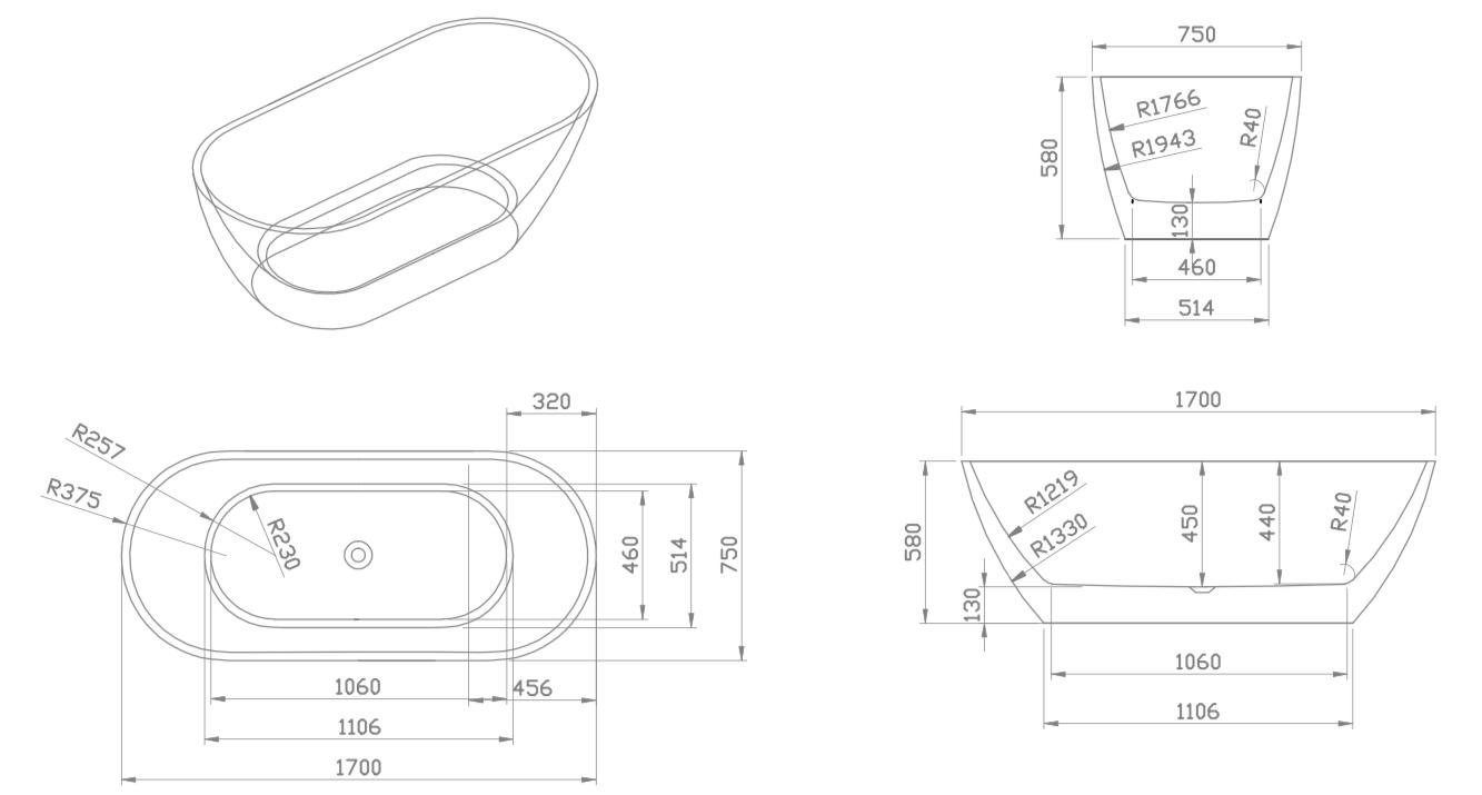 Linea Uno Design Badewanne Lubana 170