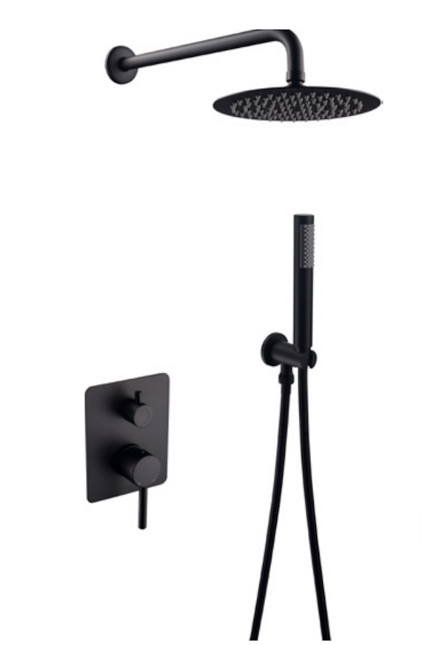Misi aufgesetztem Duschsatz (schwarz)