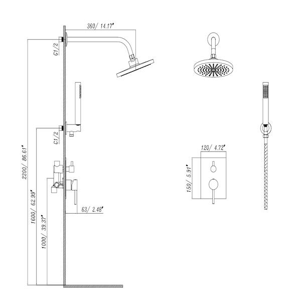 Brausegarnitur eingebaut Misi (Chrom)