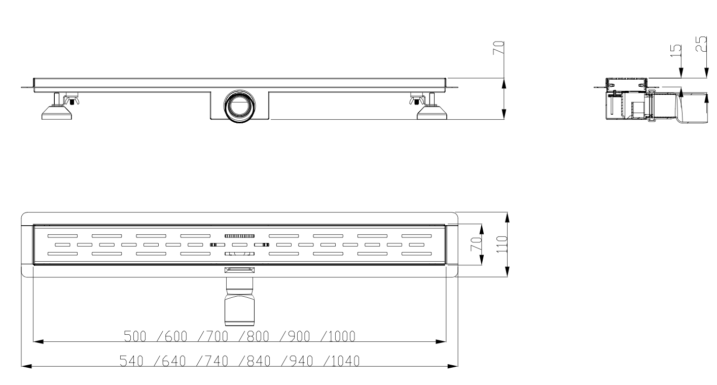Duschrinne Valnes (B) 70x7cm Edelstahlgitter und Flansch