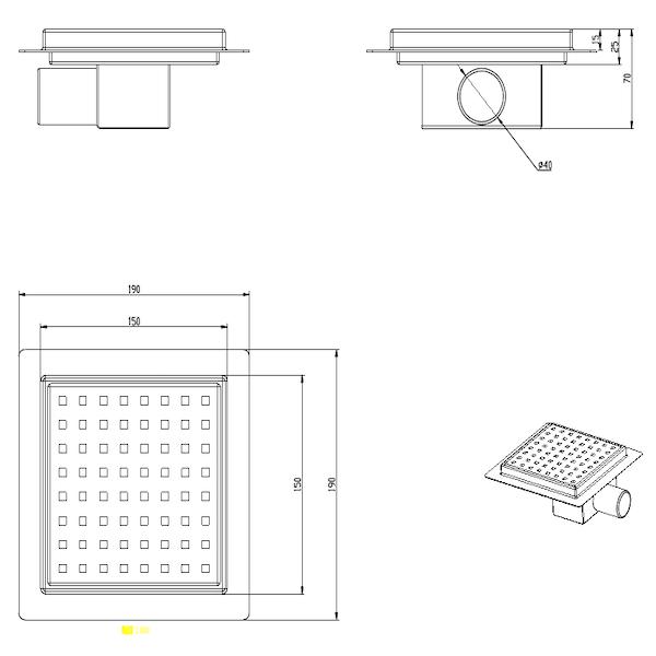 Duschrinne Engan 12x12cm quadratischen Edelstahlgitter und Flansch