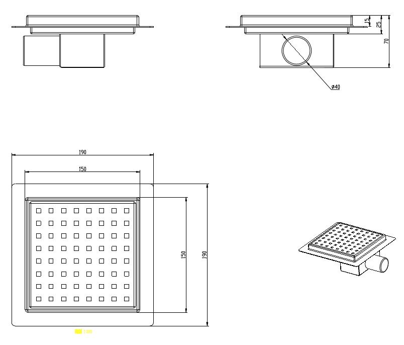 Duschablauf Umfors 20x20cm square Tessellation Gitter und Flansch