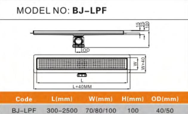 Linea Uno Douchegoot Ramsund 70x7cm RVS rooster en flens