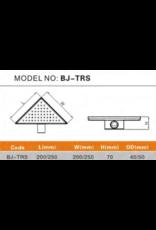 Douchegoot Sandnes driehoek RVS Rooster 20x20cm