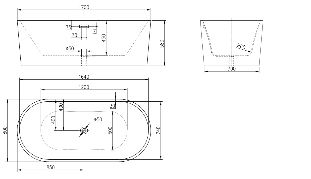 Linea Uno Design Badewanne Tolga 170