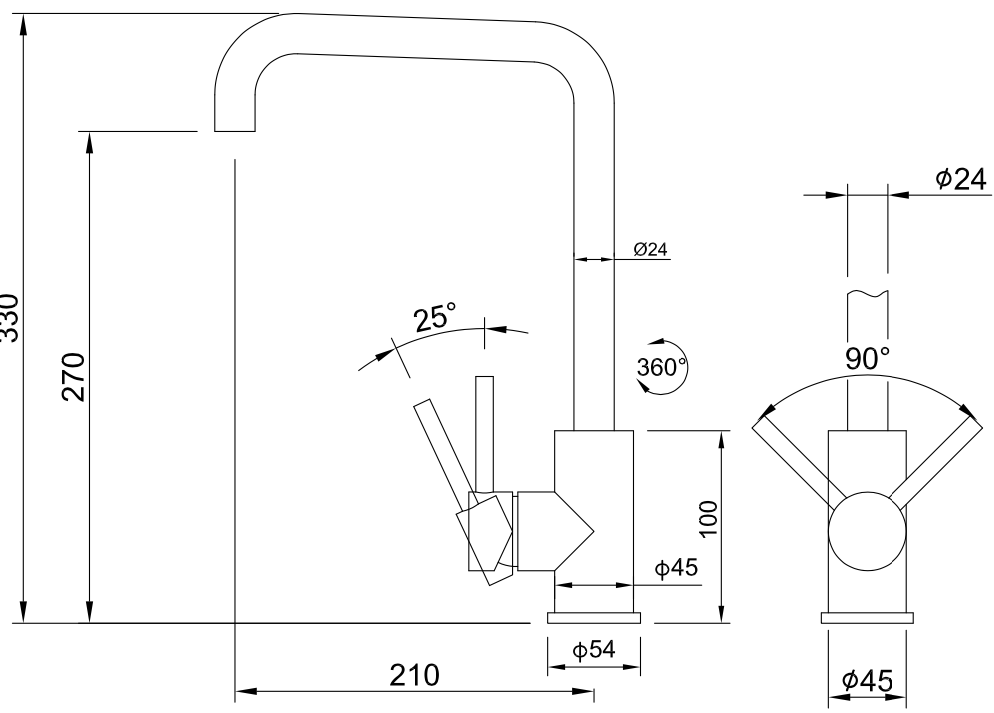 Sink / Küchenarmatur Bogense hoch (schwarz)
