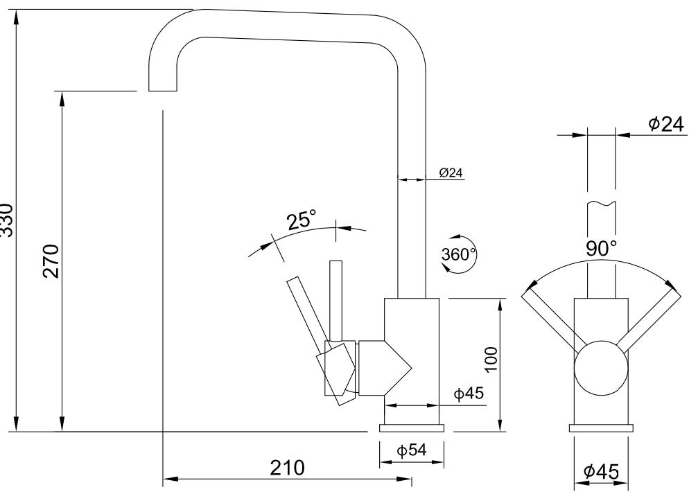 Wastafel/keuken kraan Bogense hoog (Zwart)