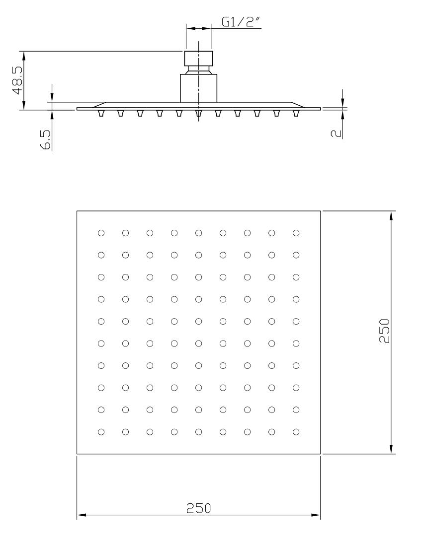 Linea Uno Brausegarnitur eingebaut Hobro (Rostfreier Stahl)