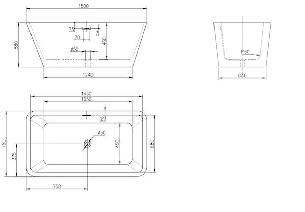 Linea Uno Design ligbad Arkala 150