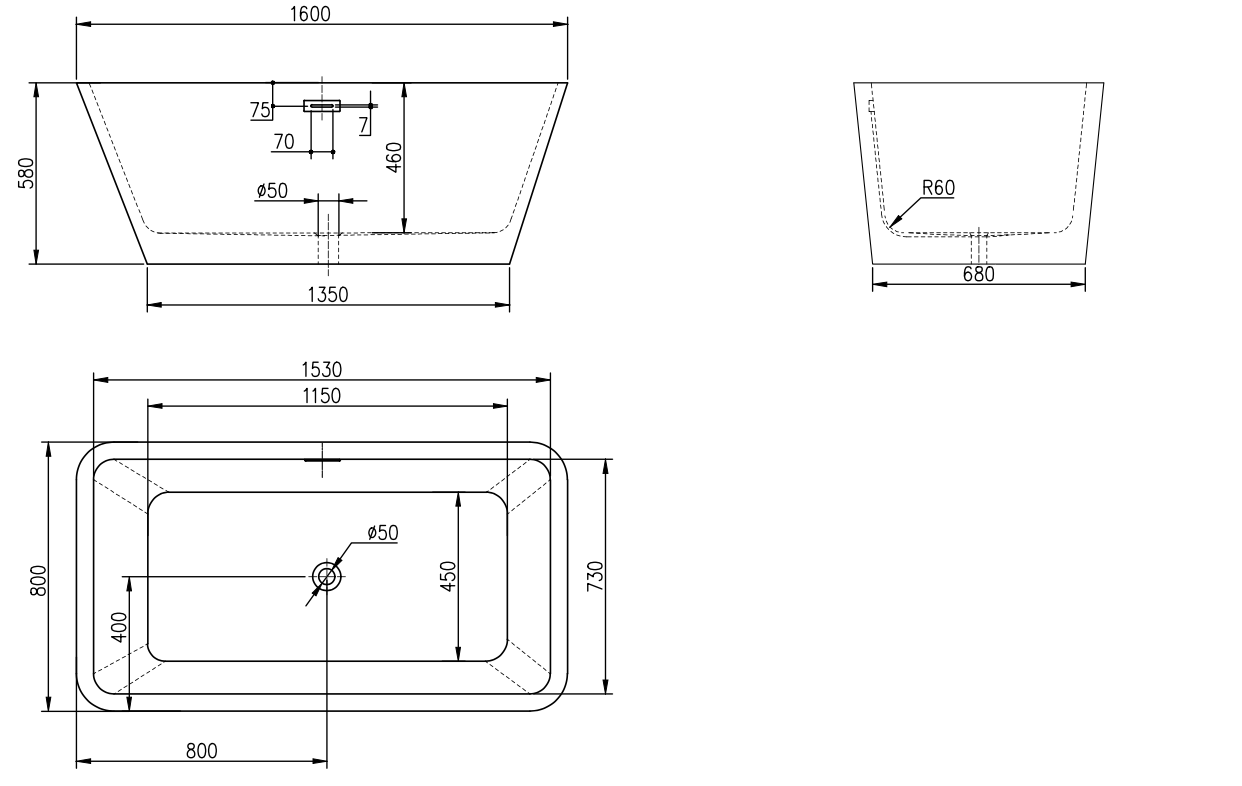 Linea Uno Design ligbad Arkala 160
