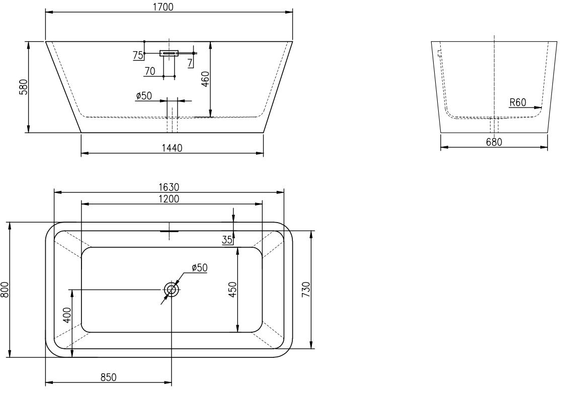 Linea Uno Design Badewanne Arkala 170