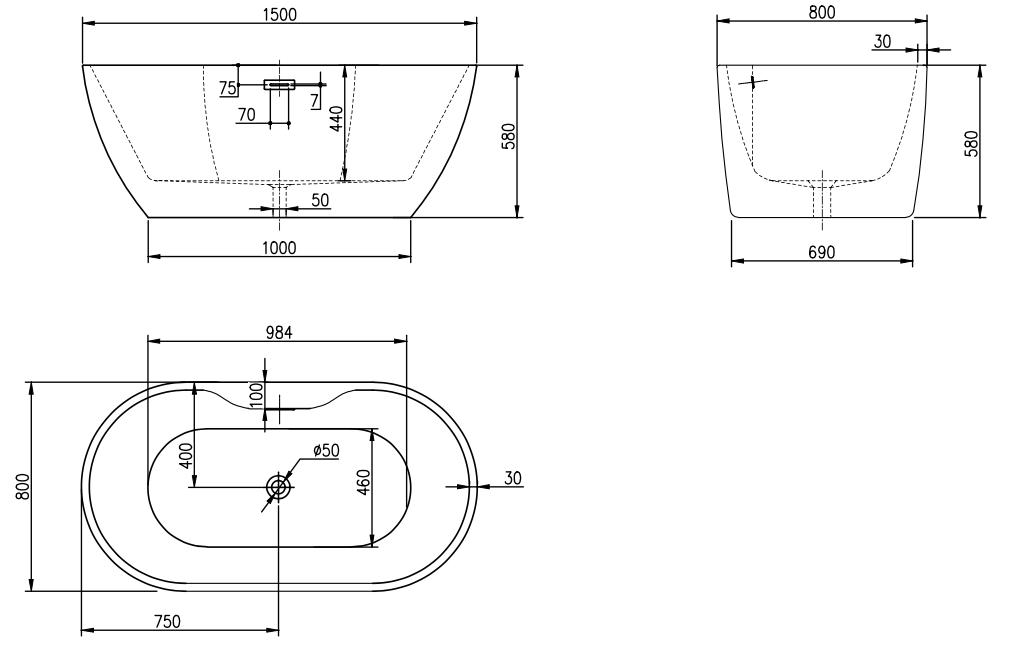 Linea Uno Design Badewanne Saldus 150