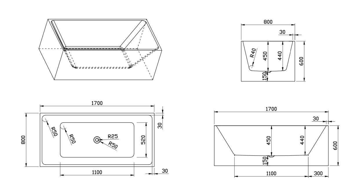 Linea Uno Design Badewanne Usma 170 - Copy