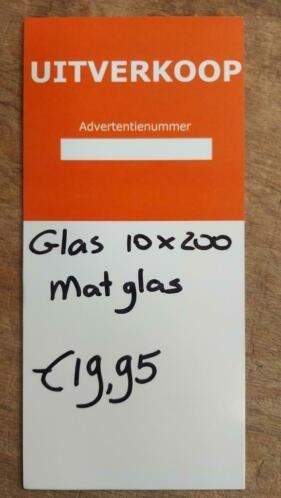 Linea Uno op=op Glasplaat 8mm MAT glas 10 x 200 cm