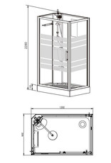 Linea Uno Thermo links complete douchecabine 120x90x218 alu  5mm glas