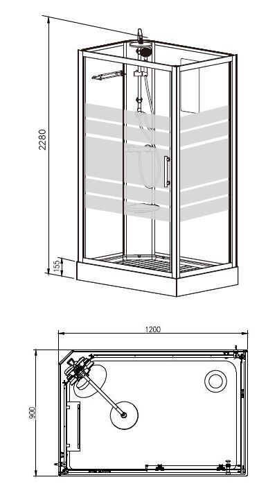 Wiesbaden Thermo links complete douchecabine 120x90x218 alu  5mm glas