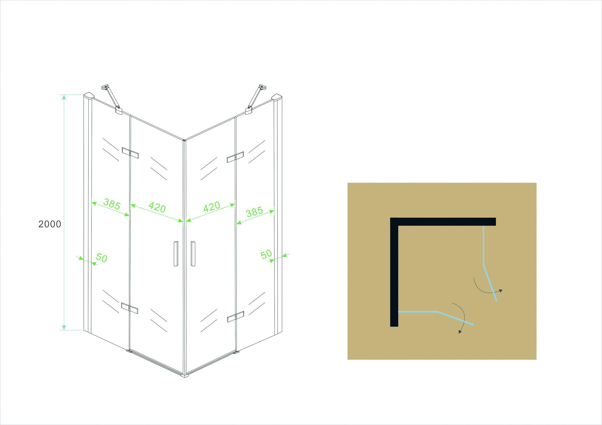 Wiesbaden hoekinstap-2 draaideuren 900x900x2000 chr.8mm NANO