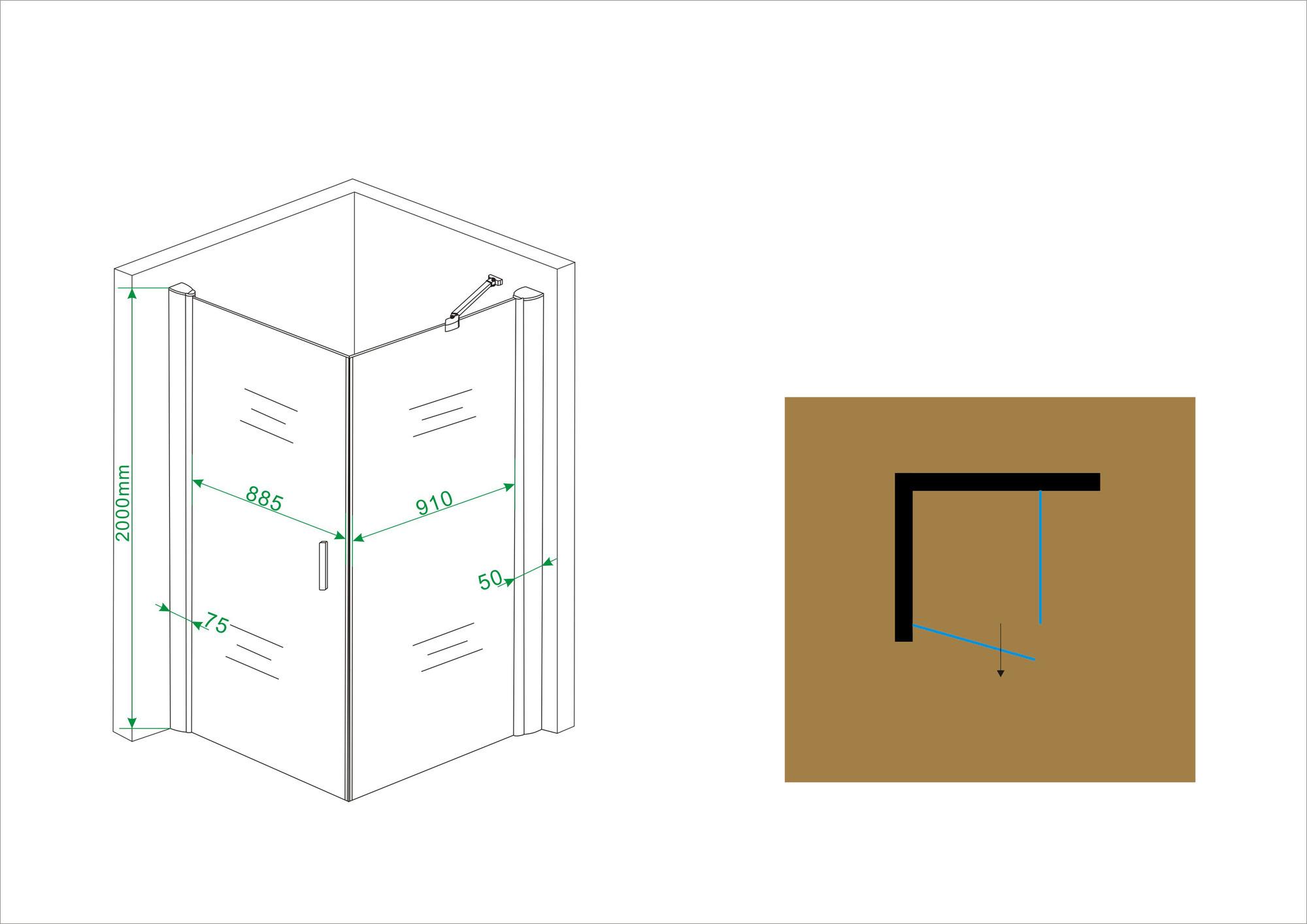 Linea Uno Wiesbaden Uni douchecabine draaideur met zijwand 100x100 cm chroom met helder glas 8mm NANO