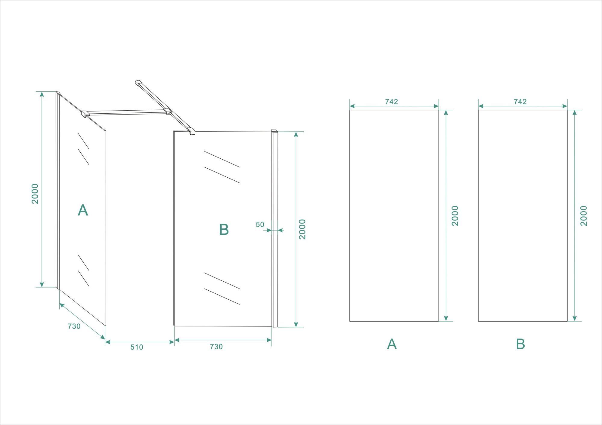 Wiesbaden inloopdouche combinatie-set 1300x800x2000 10mm nano
