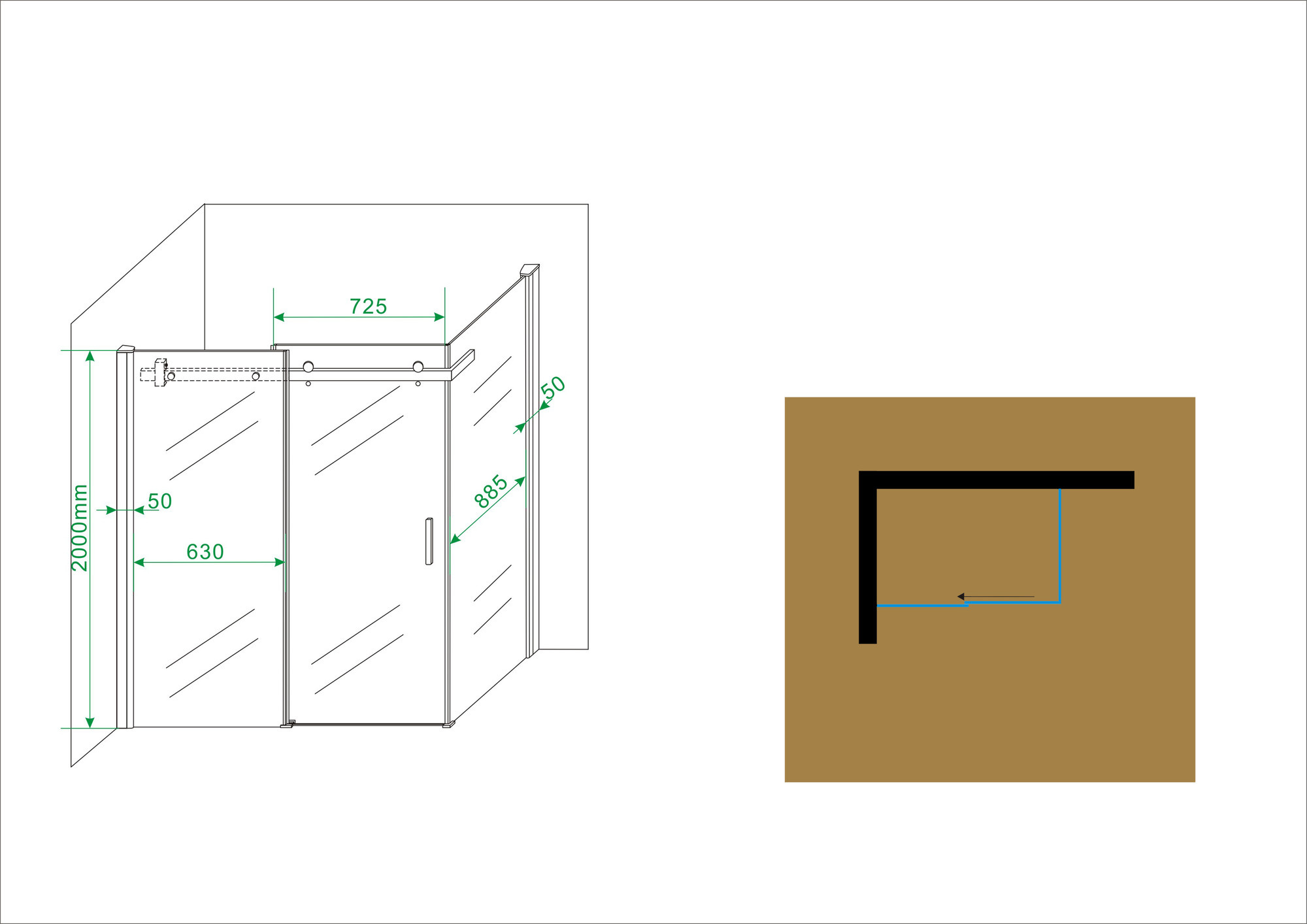 Linea Uno douchedeur + zijwand 1400x1000x2000 chr.8mm NANO
