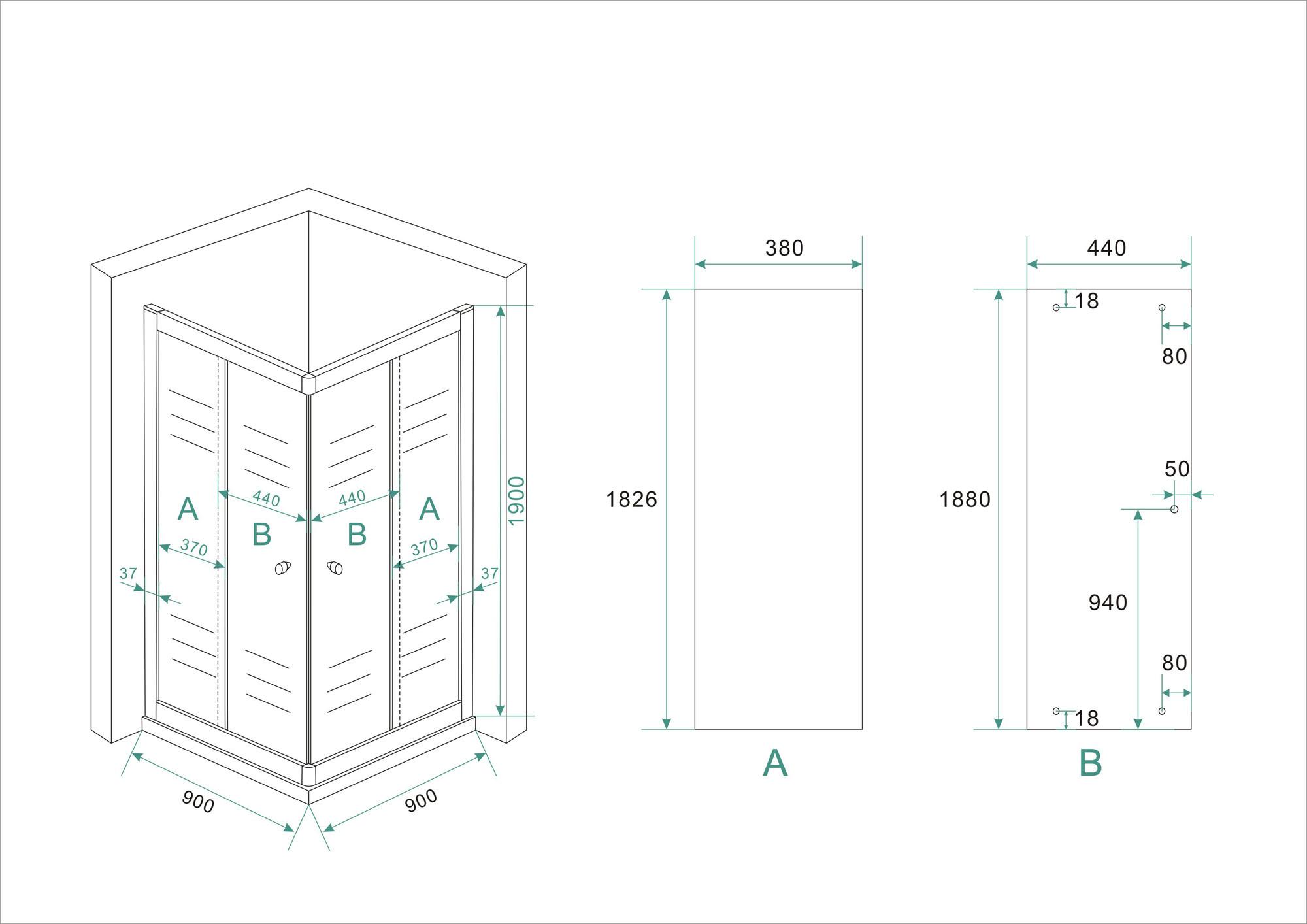 Wiesbaden Eco hoekinstap douchecabine 5mm 900x900x1900 helder glas
