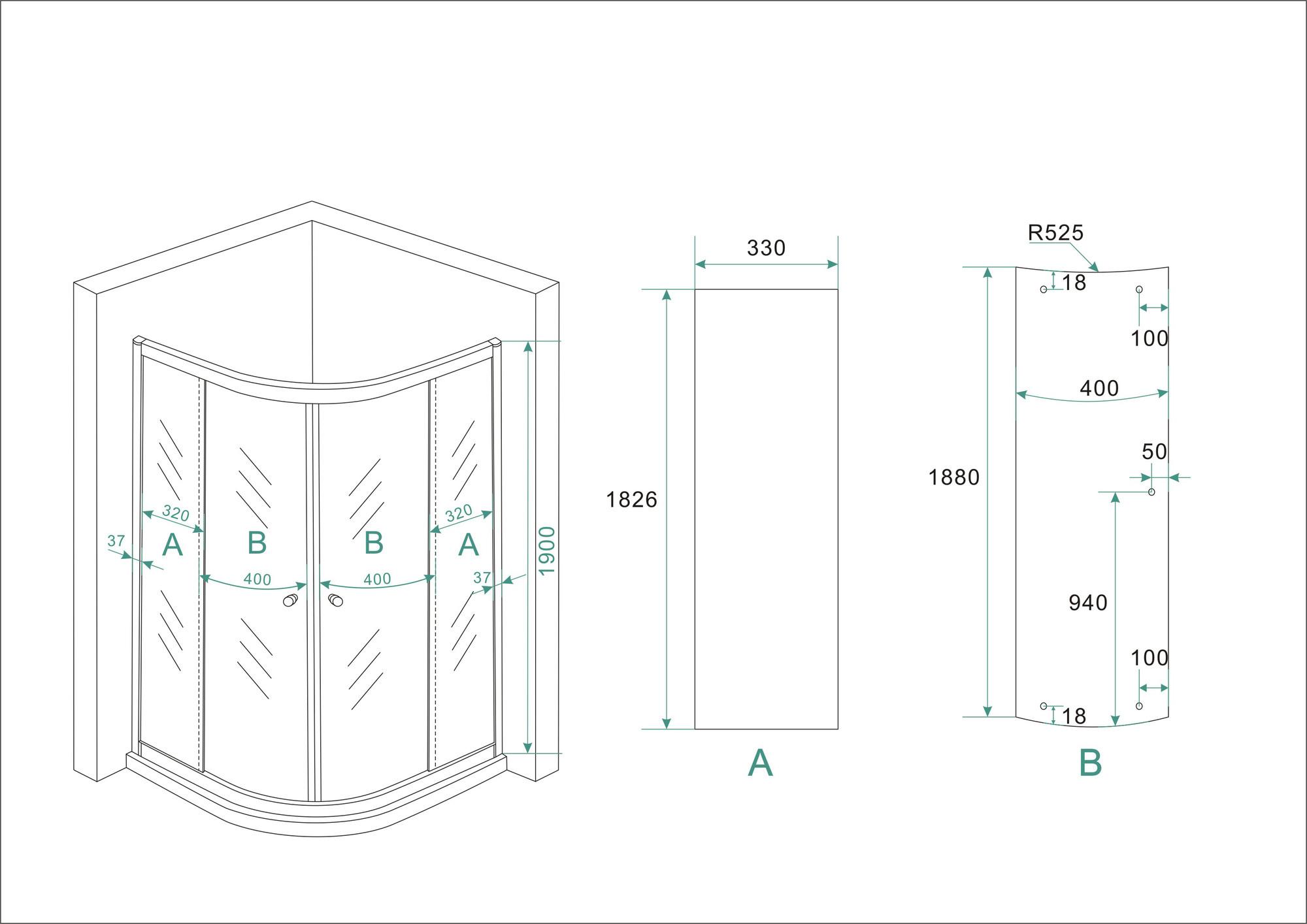 Linea Uno Eco 1/4 ronde douchecabine 5mm 900x900x1900 helder glas