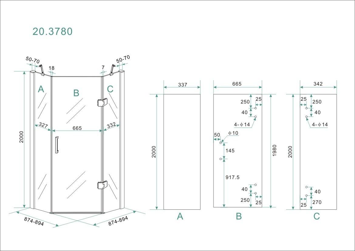 Linea Uno 5-hoek douchecabine 8mm NANO 900x900x2000