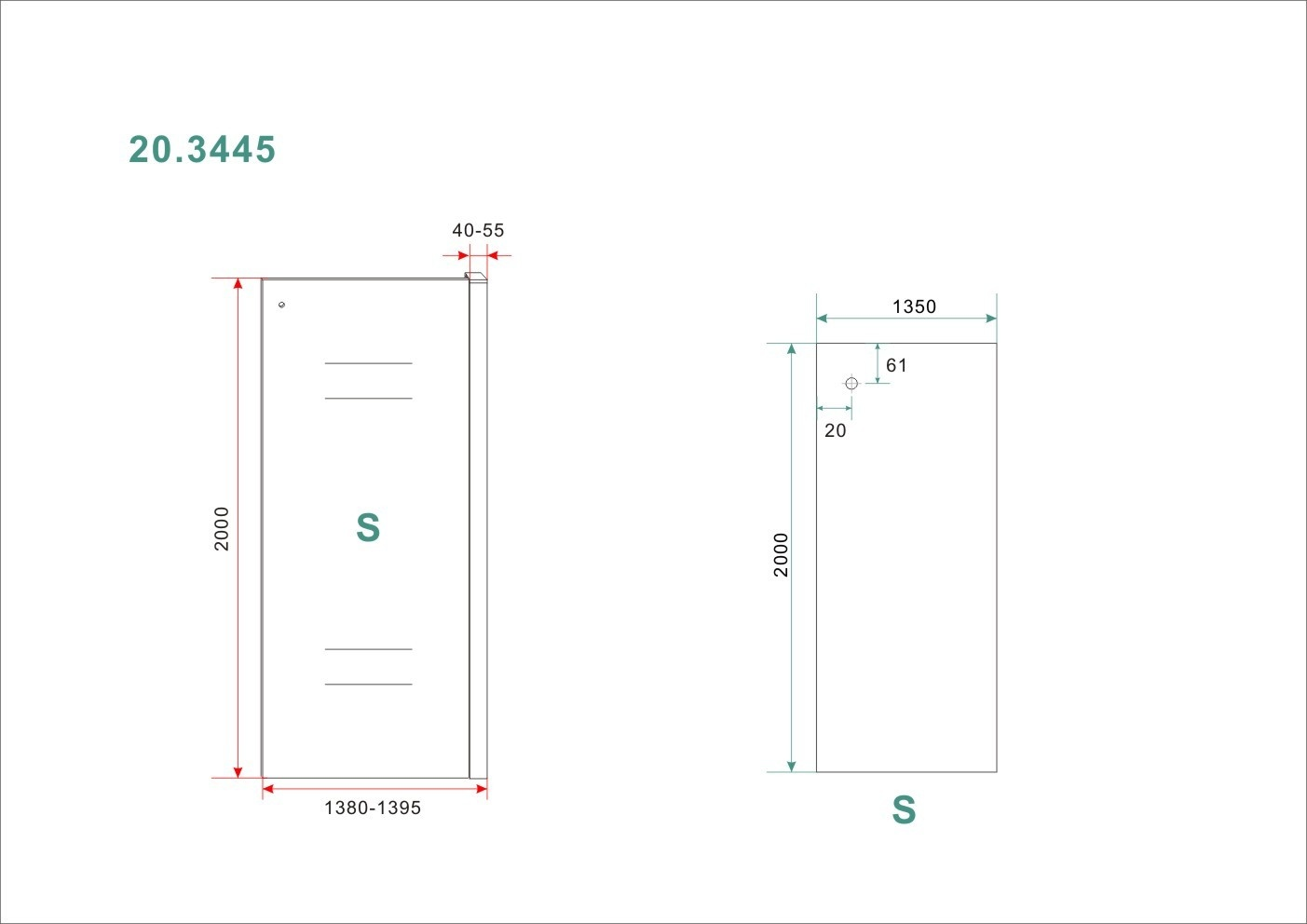 Linea Uno Side zijwand voor Softclose 2.0 schuifdeur 140 cm 8 mm Nano