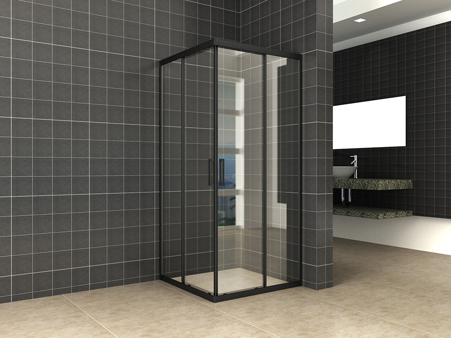 Wiesbaden Skyline hoekinstap + 2 schuifdeuren 1000x1000x2000 mat-zwart 8mm NANO