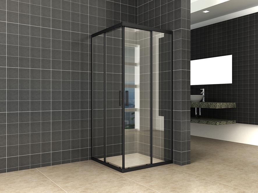 Wiesbaden Skyline hoekinstap + 2 schuifdeuren 800x800x2000 mat-zwart 8mm NANO