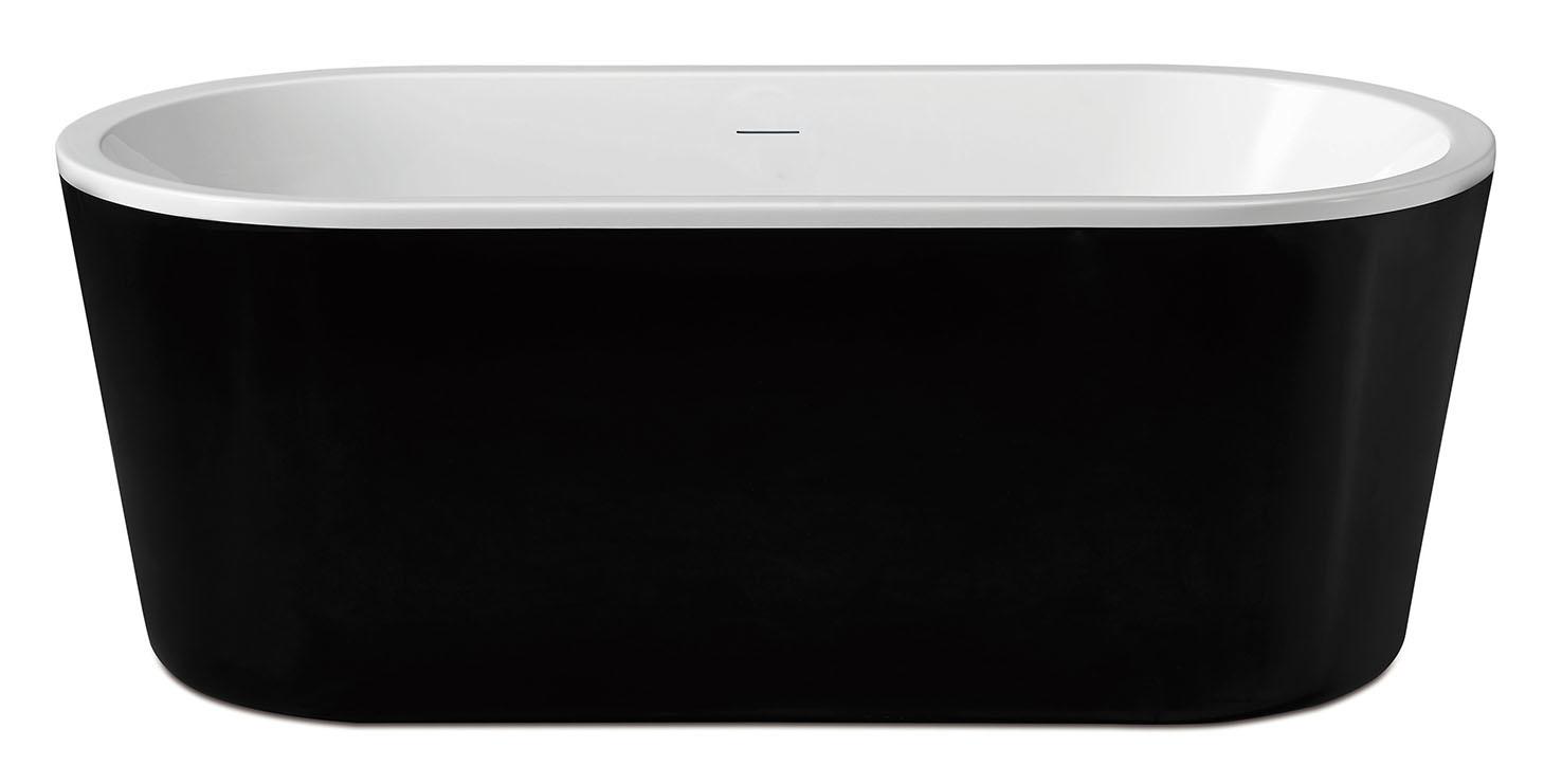Linea Uno Nero vrijstaand acryl ligbad 178 x 80 zwart/wit