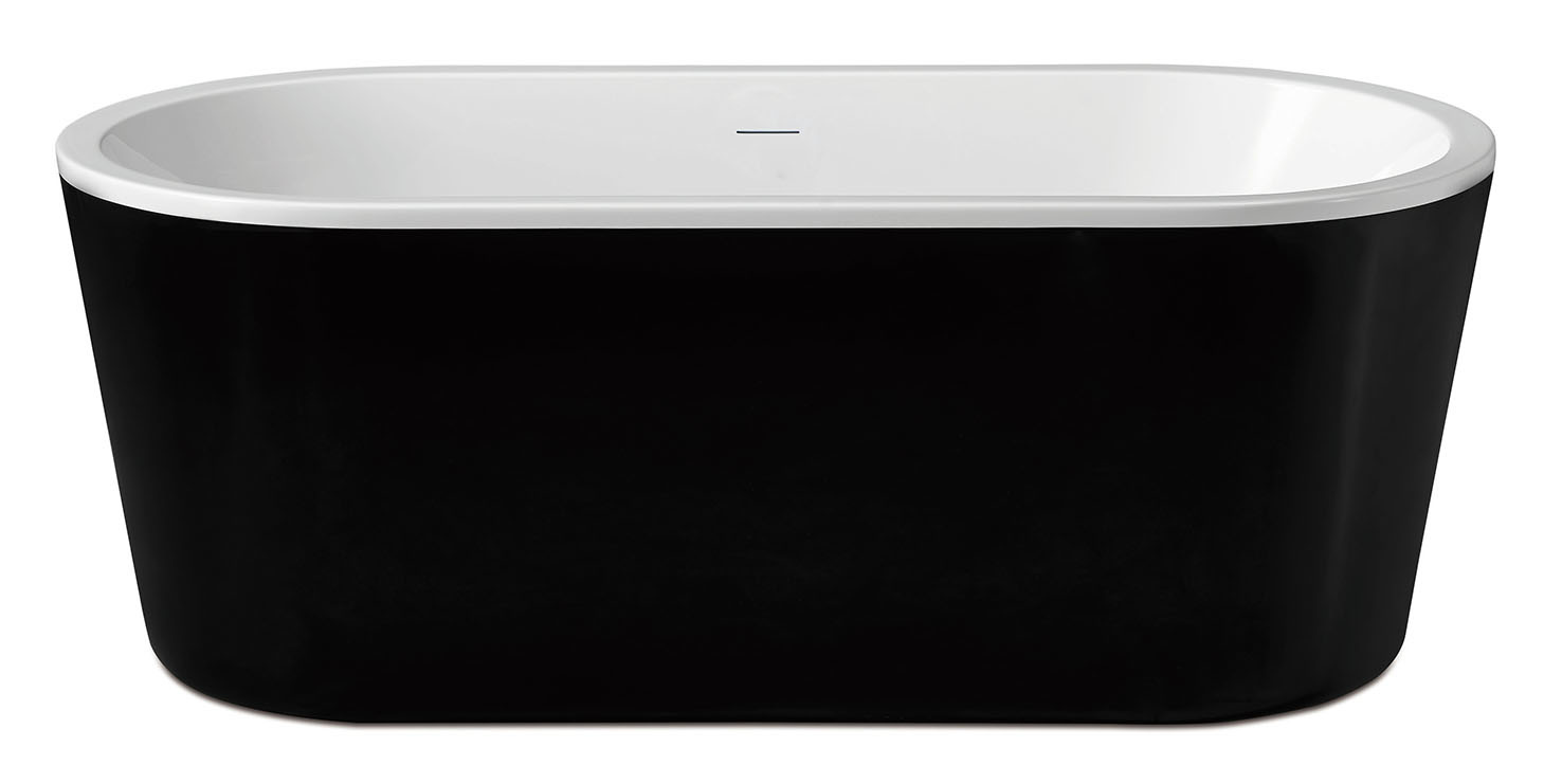 Wiesbaden Nero vrijstaand acryl ligbad 178 x 80 zwart/wit