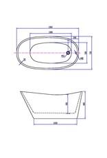 Wiesbaden Trapeze vrijstaand acryl ligbad 150 x 72 wit