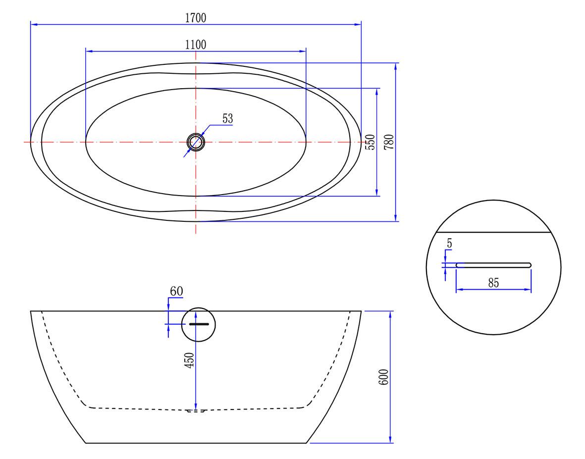 Wiesbaden Oval vrijstaand ligbad acryl 170x78 mat wit