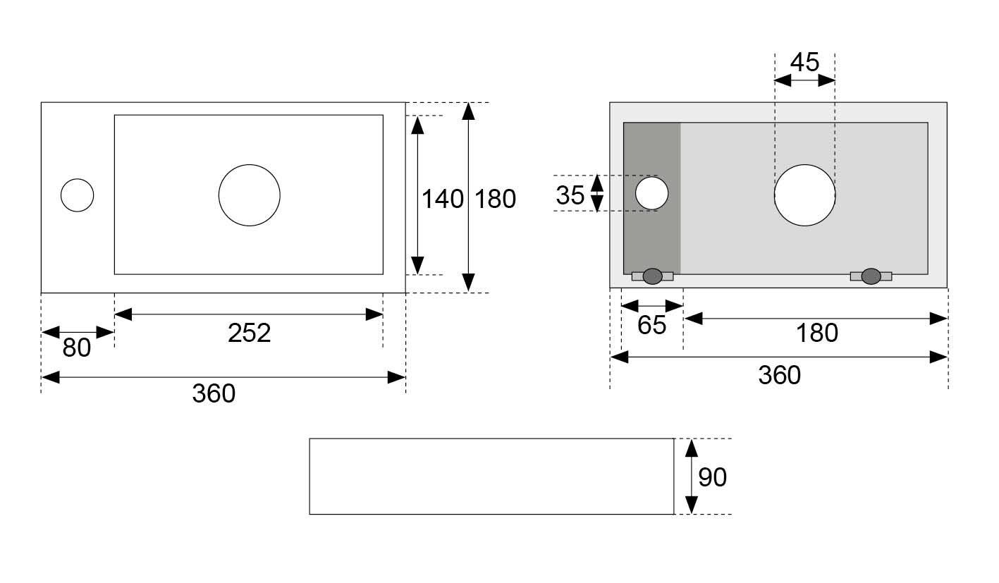 Wiesbaden Mini-Rhea links fontein 360x180x90 mat wit
