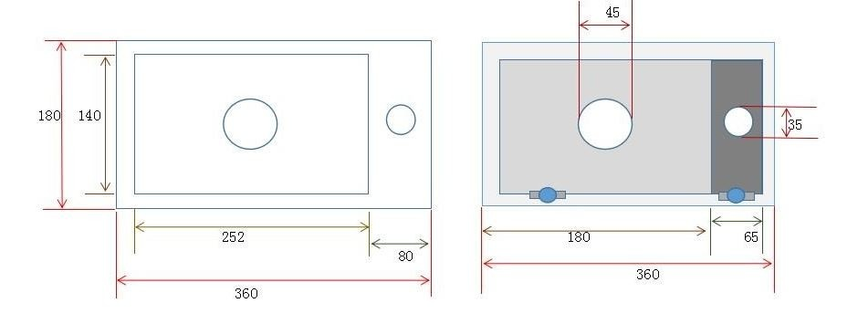 Wiesbaden Mini-Rhea links fontein 360x180x90 mat zwart